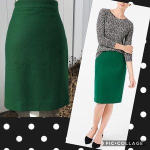 NWT J. Crew Emerald Green Wool Pencil Skirt Sz 8